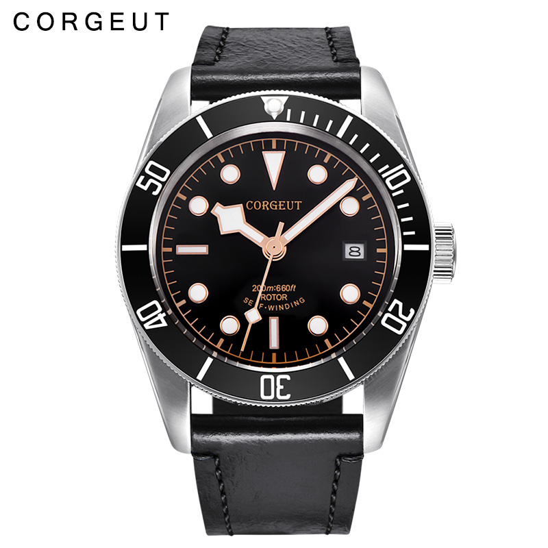 41MM Corgeut black dial top brand luxury watch clock Luminous sapphire glass Mechanical male Mens Automatic