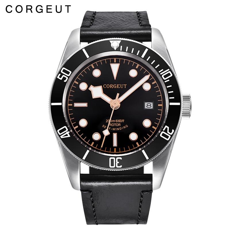 купить 41MM Corgeut black dial rosegold marks Luminous sapphire glass Japan miyota 8215 20ATM Mens Automatic Watch по цене 15639.43 рублей