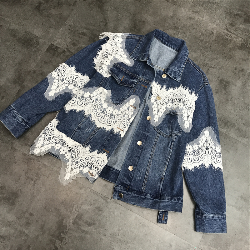 lace patchwork denim   jacket   coat women Vintage autumn winter   basic     jackets   2018 Casual ripped jean   jacket   outerwear