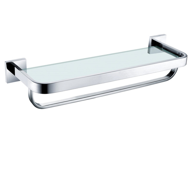 AUSWIND Contemporary 304 Stainless Steel Glass Shelves with Towel ...