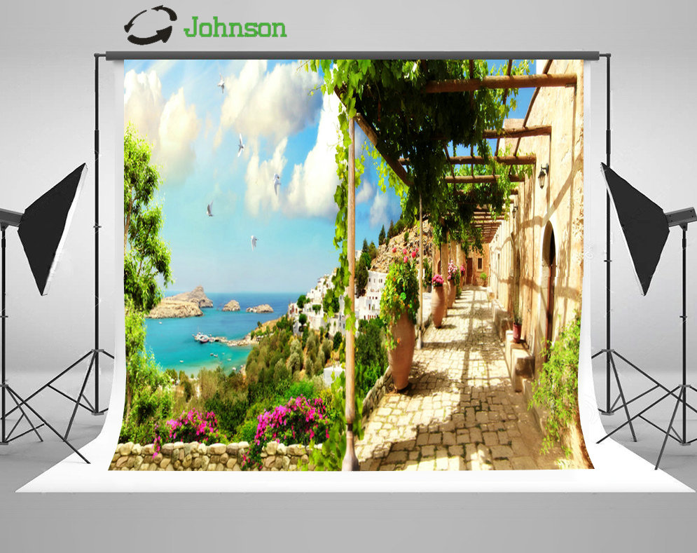 Blue Sky White Clouds Sea Flower Leaves Coastal Patio Road background polyester Vinyl cloth Computer print wedding backdrop