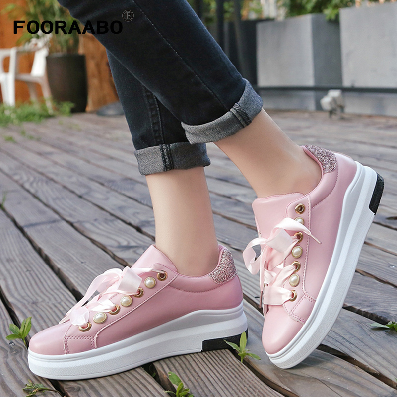 Fooraabo 2017 Fashion Spring Women Shoes Casual Tenis Feminino Women Platform Sneakers Woman Flats Breathable Lace Up Ladies