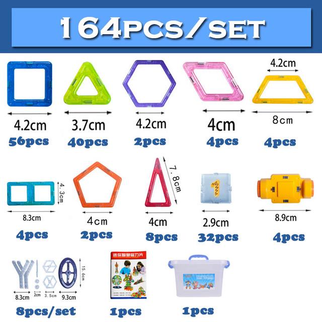 164pcs/set Mini Magnetic Designer Construction Set Model & Building Toy Plastic Magnetic Blocks Educational Toys For Kids Gift