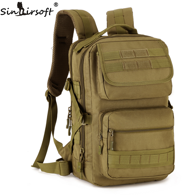 SINAIRSOFT Men 25L Outdoor Military Army Tactical Backpack Trekking Sport Travel Rucksacks Camping Hiking Camouflage Bag 65l men outdoor army military tactical bag backpack large size camping hiking rifle bag trekking sport rucksacks climbing bags