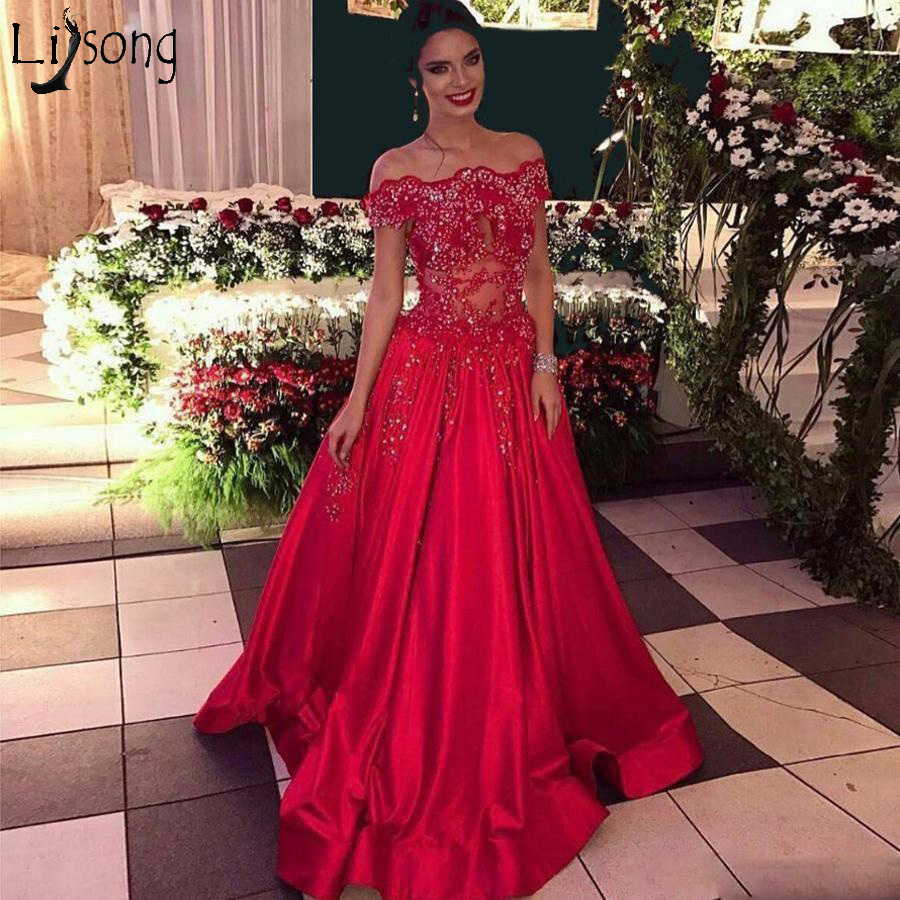 Hot Sale A-Line Red   Prom     Dresses   2018 Vestidos Longo Vintage Beading Long Evening   Dress   Boat Neck Elegant Engagement   Dress