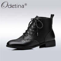 Odetina 2017 Fashion Genuine Leather Brogue Boots Women Lace Up Ankle Boots Low Heel Round Toe