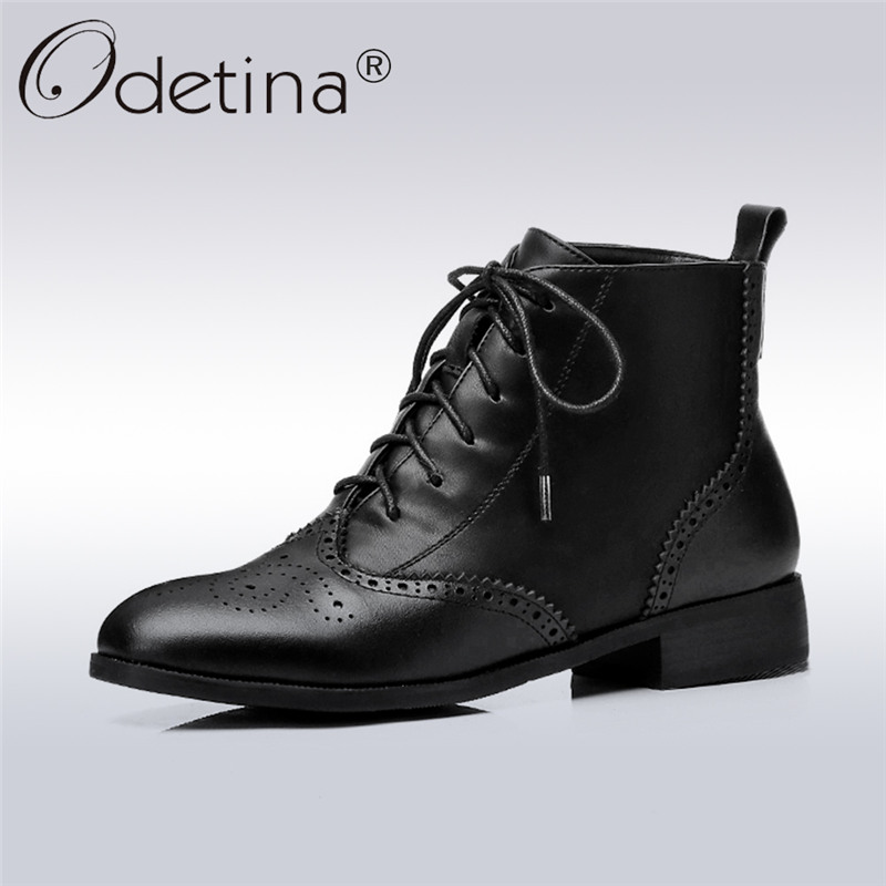 Odetina 2017 Fashion Genuine Leather Brogue Boots Women Lace Up Ankle Boots Low Heel Round Toe Booties Winter Shoes Big Size 43 front lace up casual ankle boots autumn vintage brown new booties flat genuine leather suede shoes round toe fall female fashion