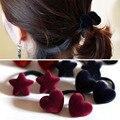 1Pc Korean Women Velvet Cloth Heart Star Shape Elastic Hair Ropes Fashion Girls Hair Accessories Love Heart Headdress ZHH983