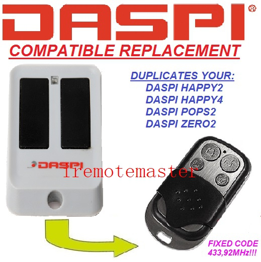 DASPI Happy 2, DASPI Happy 4 Replacement remote control 4 channel 433.92mhz