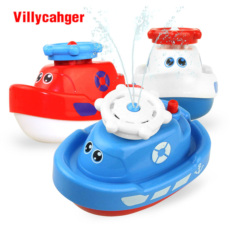 1 Pcs Mini Cute Baby Bath Toy Automatic Spraying Water Boat Float Swimming Water Play Classic Educational Learning Toys For Kids