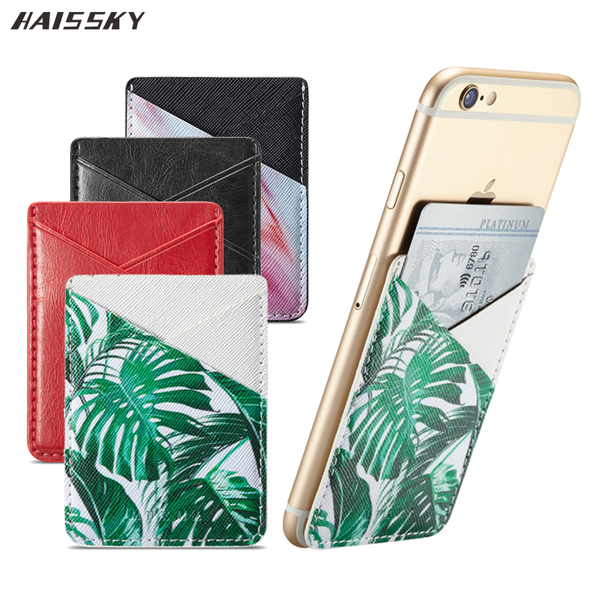 2018 Universal Leather Card Holder Skin Sticker For Iphone 6 6s 7 8 Plus X Huawei P10 P20 Lite Pro Marble Cat Phone Pocket Case Elegant In Smell
