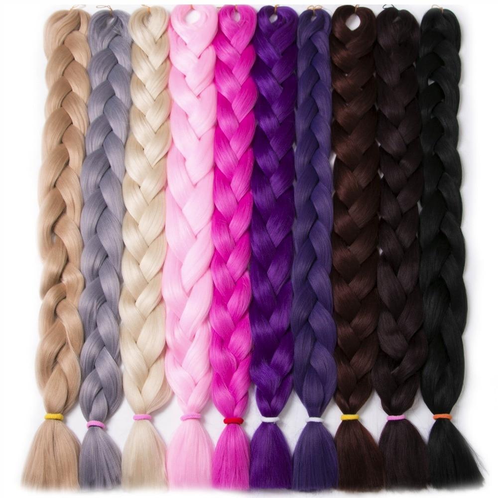 Pelo trenzado sintético 82 pulgadas 165 g / pcs color puro Trenza A granel estilo de pelo africano Crochet extensiones de cabello, VERVES yaki textura