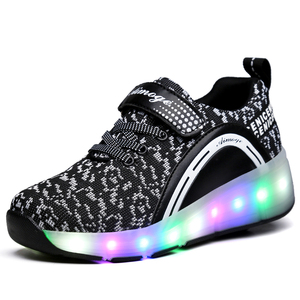 Image 5 - 2019 Kids Sneakers Led Light Shoes With Wheels For Boy Girls Sports Roller Sneakers Children Casual Roller Skate One Wheel