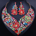 Exquisite Flower Shaped Blue Crystal Rhinestones Necklace earrings for Women Wedding Prom Accessory African Jewelry sets