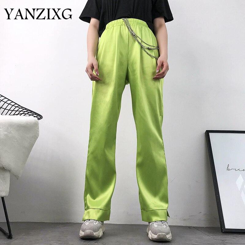 Neon Green High Waist   Pants     Capri   Harajuku Casual Straight Ladies Trousers Baggy Satin   Pants   Women Pockets Streetwear E808