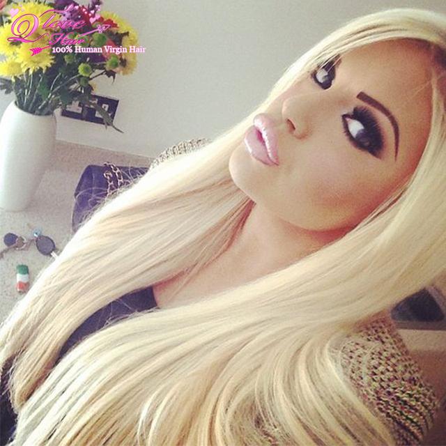 613 cabelo virgem loira extensões de cabelo loiro mel cabelo brasileiro loira em linha reta feixes de cabelo humano loiro 613 extensão haar