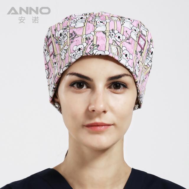 Gorra de alta calidad con sudor tapa de un médico con una toalla impresa casquillo de la bóveda para el pelo corto rosa