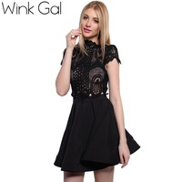 Wink Gal 2016 Spring Short Evening Dress White Dress Hollow Out Sexy Ladies Dresses Clothing For