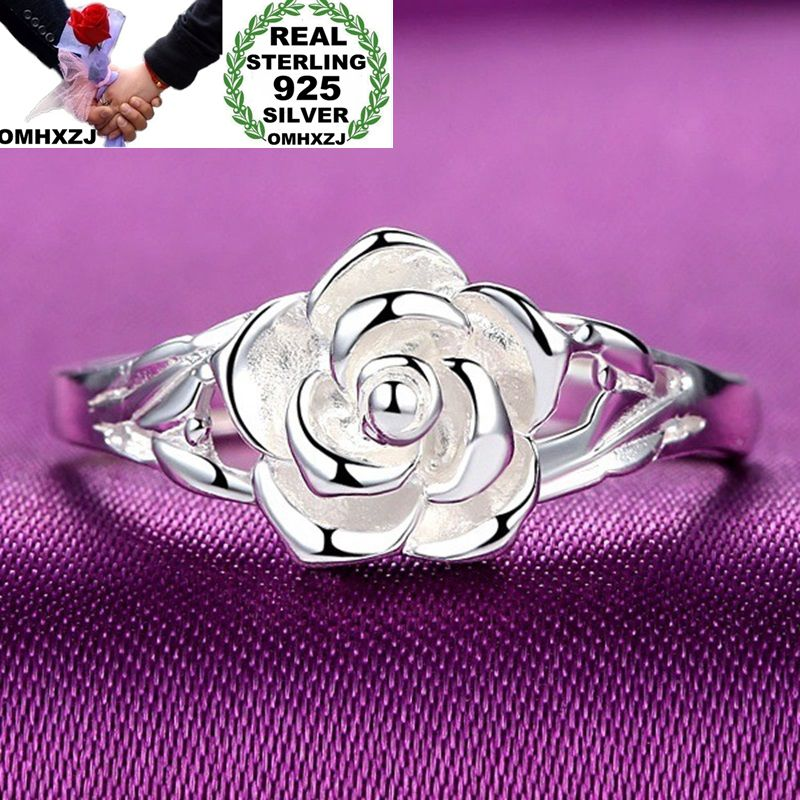 OMHXZJ Wholesale European Fashion Woman Girl Party Wedding Gift Silver Rose S925 Sterling Silver Ring RR289