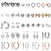 DORAPANG 100 925 Sterling Silver Earrings Flower Type Hollow Ear Studs Charm Beads Fit Bracelet DIY