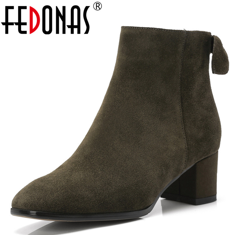 FEDONAS Women Ankle Boots Cow Suede High Heels Autumn Winter Warm Short Boots Bowtie Party Night Club Pumps Casual Shoes Woman цены