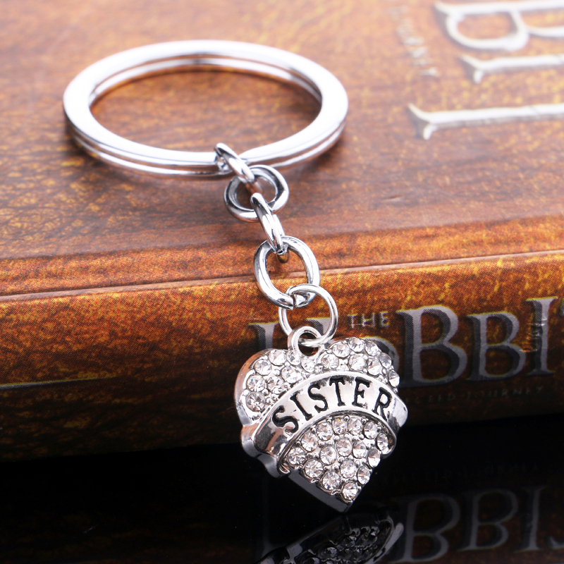 Family Clear Pink Blue Silver Crystal Rhinestone Heart Sister Sis Pendant Keyrings Key Chains Holder Keyfob Girls Gift Xmas Bags
