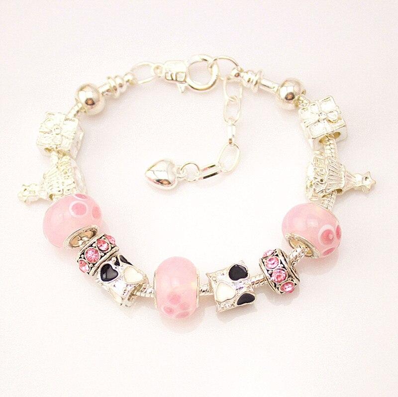 MPB Wiola Charm Bracelet With Flower Pendant Charm Gold Murano Glass Beads Friendship Bracelet DIY Jewelry alloy anchor rudder leather friendship love couple charm bracelet