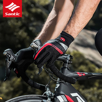 Santic Cycling Gloves Winter Fleece Thermal Warmer Gel Pad Bike Bicycle Gloves Screen Touch Shockproof Full Finger Gloves