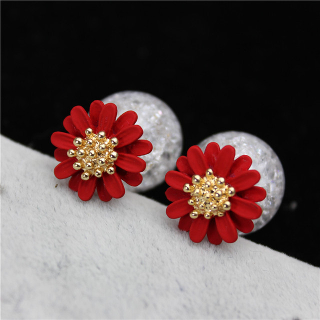 2017 new summer style fashion brand jewelry simple double pearl earrings for women elegant daisy flower statement stud earrings