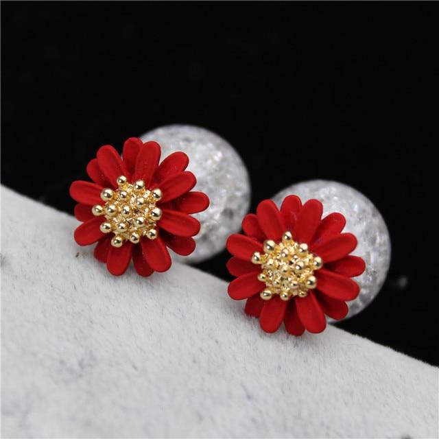 2017 nuevo estilo de verano marca de joyería de moda simple doble perla pendientes para las mujeres elegante flor de la margarita pendientes declaración