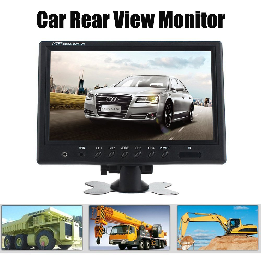 9 Inch TFT LCD Split Screen Quad Monitor Car Headrest Rear View Monitor with 4 RCA Connectors 6 Mode Display DC Power Adapter 550t001m1r3e0l d sub backshells split bkshll top rear mt str mr li