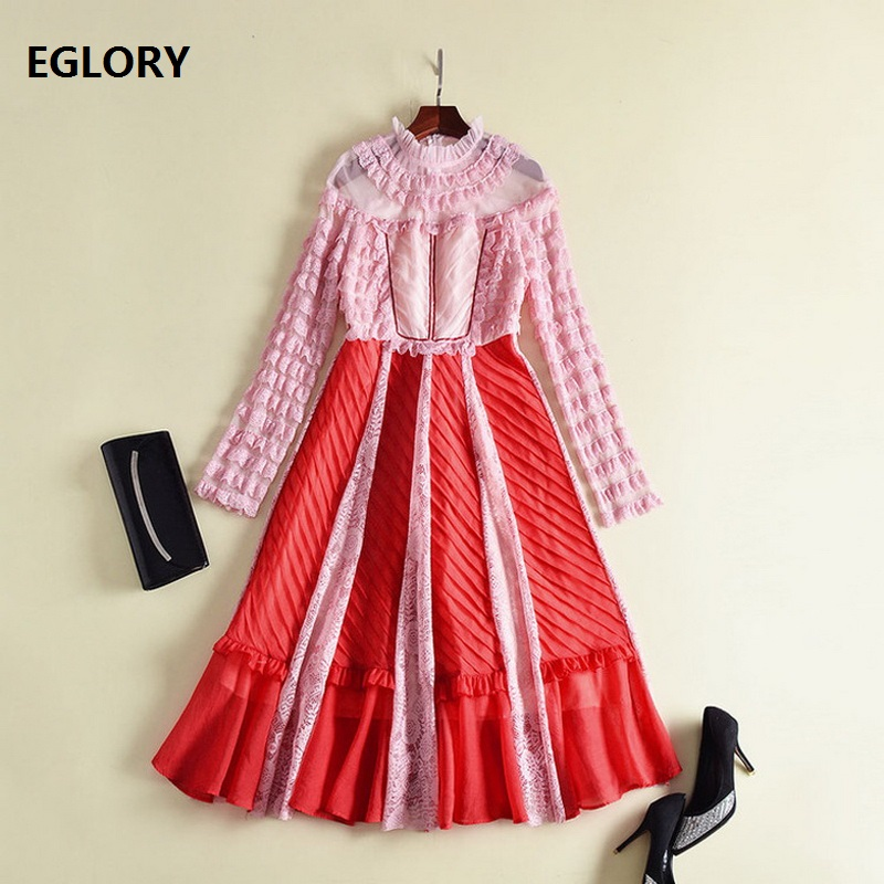 Long Sleeve Dress Spring 2018 Women Ruffles Lace Patchwork Vintage ...