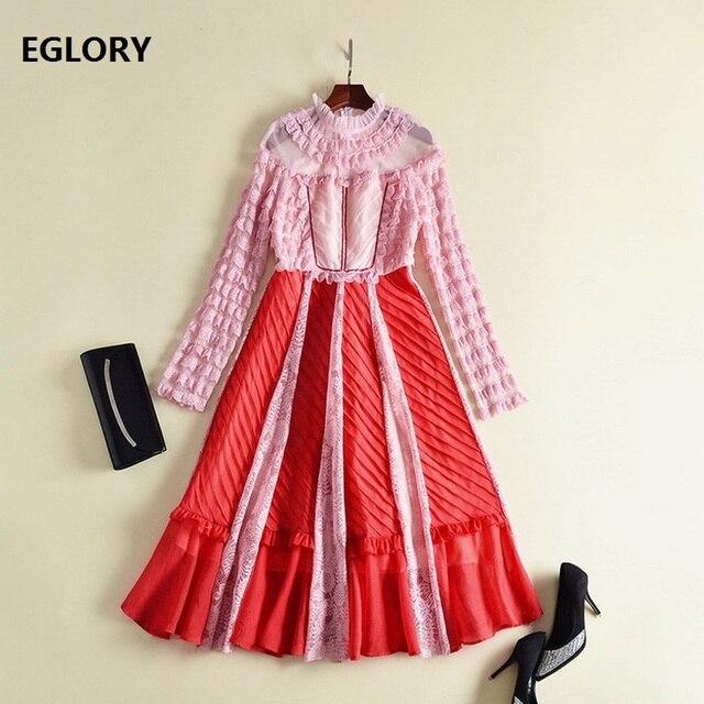 Long Sleeve Dress Spring 2018 Women Ruffles Lace Patchwork Vintage ...
