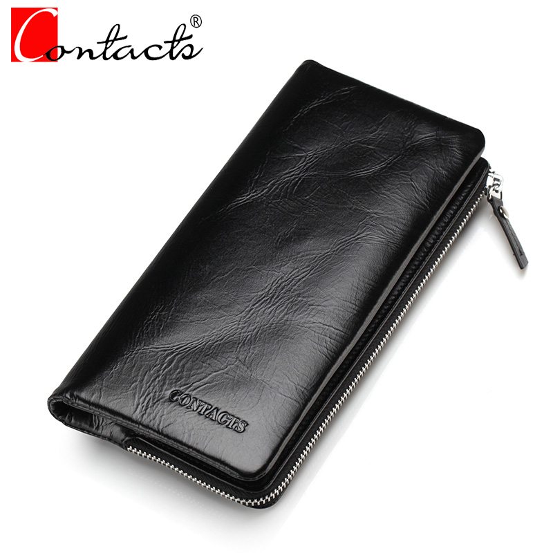CONTACT'S Genuine Leather Men Wallets Vintage Long Men's Clutch Wallet black Fashion Male Purse Card Holder Cell Phone Pocket yishen fashion genuine leather men wallet id card holder bags casual men clutch wallets purse handy bags male long wallet s3018