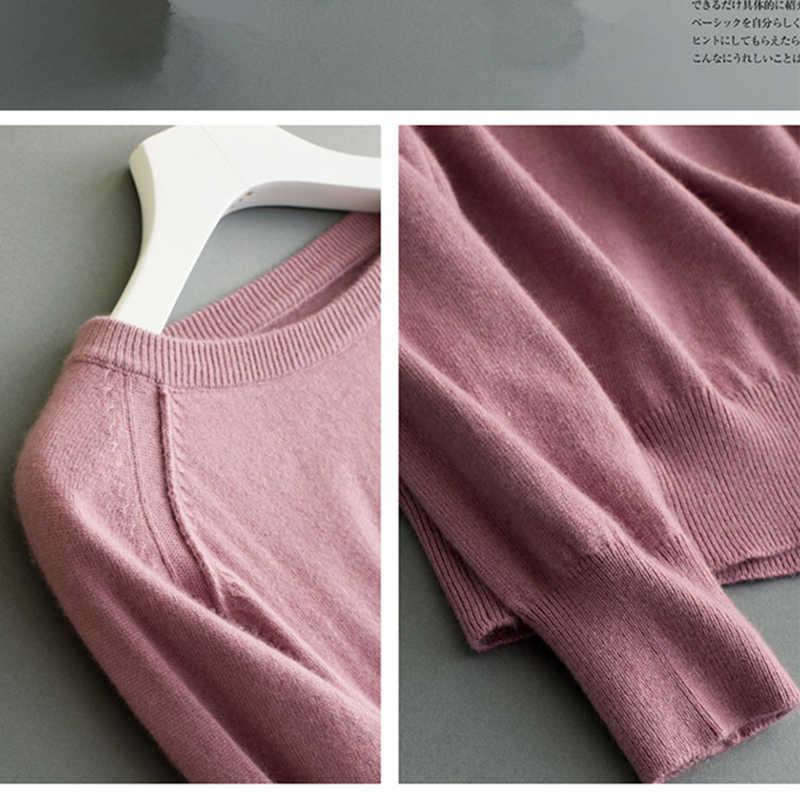 2018 가을, 겨울 새 스타일 여성 의류 라운드 목 솔리드 컬러 소프트 pullovers 여성 100% 순수 캐시미어 스웨터