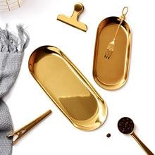 Нордический Овальный металлический поднос для ювелирных изделий, настольный органайзер, украшение для кухни, плато для хранения продуктов, золотые и серебряные украшения