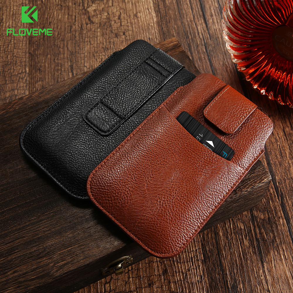Universal Mobile Phone Bags Case For iPhone 6 6s Plus 7 Plus Cover PU Leather Men Purse Wallet Pouch For Samsung S8 S6 S7 Edge