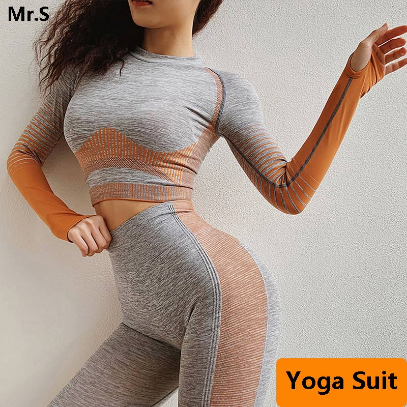2 Pcs Seamless Workout Clothes For Women Long Sleeve Yoga Set Crop Top Sport Suit Workout