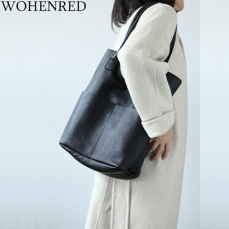 100% doux en cuir véritable femmes sacs à bandoulière mode grande capacité seau sac femme sacs à main de haute qualité dames sac à provisions