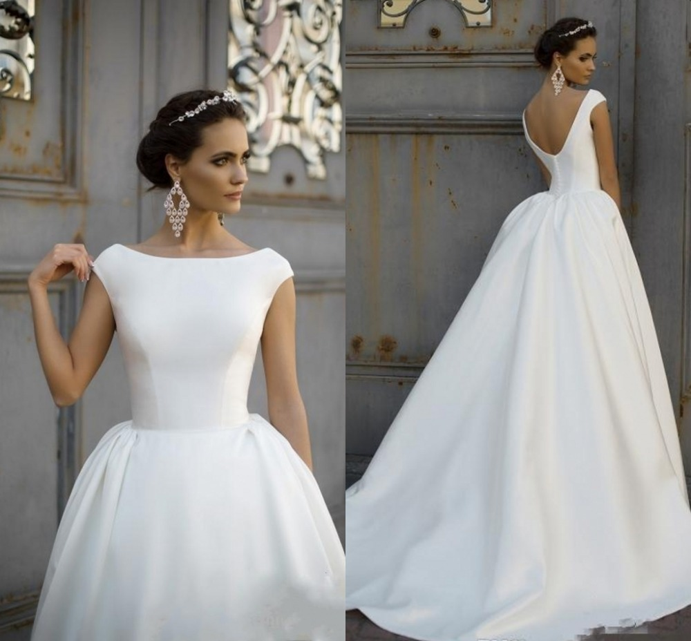 Robe De Mariee 2019 Vintage Boat Neck Satin Wedding Dress