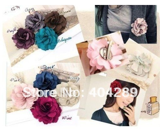 Wholesale 24pcs Camelia Flower Hair Clip,Fabric Flower Brooch,Free Shipping
