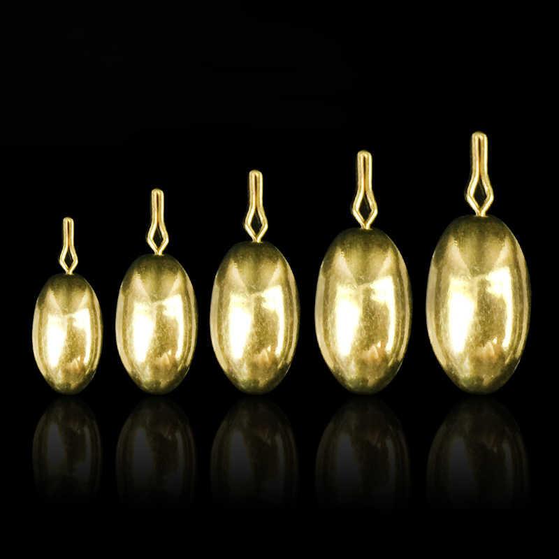 ใหม่รูปไข่ทองเหลืองตะกั่วตกปลาน้ำหนักที่แตกต่างกันลดลงยิงRig/ทองแดงทำให้จมชุด/ล่อตกปลาขายส่งอุปกรณ์เสริม