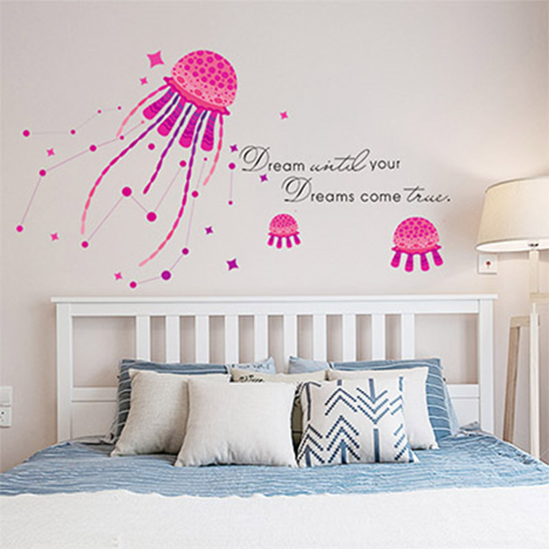 Custom PVC Wall Sticker Self Adhesive Removable fantasy jellyfish bathroom flooring photo wall murals wallpaper Ocean