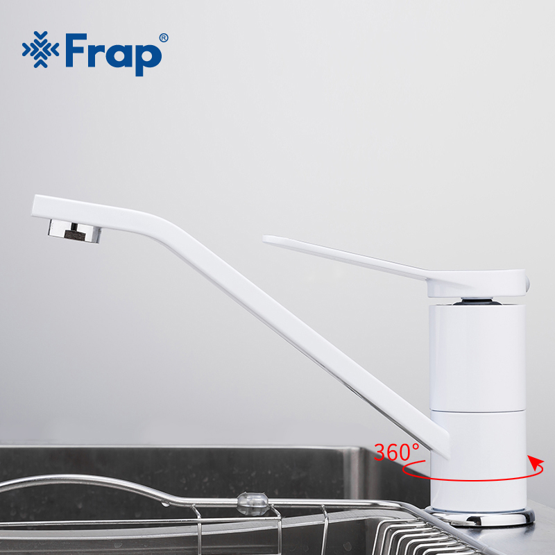 купить FRAP Simple Single Handle Basin Faucet White Painting Long Mouth Mixer Torneira Hot And Cold Tap Deck Mounted Household F4945 по цене 2555.88 рублей