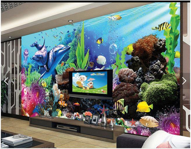 3d wallpaper custom 3d wall murals wallpaper sea aquarium 3d stereo tv backdrop of tropical fish. Black Bedroom Furniture Sets. Home Design Ideas