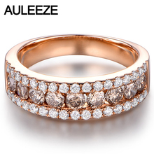Luxury Real Brown Diamond Wedding Band Solid 14K 585 Rose Gold Natural Diamond Anniversary Ring Bands For Women Fine Jewelry