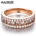 Luxury Real Brown Diamond Wedding Band Solid 14K 585 White Gold Natural Diamond Anniversary Ring Bands For Women Fine Jewelry