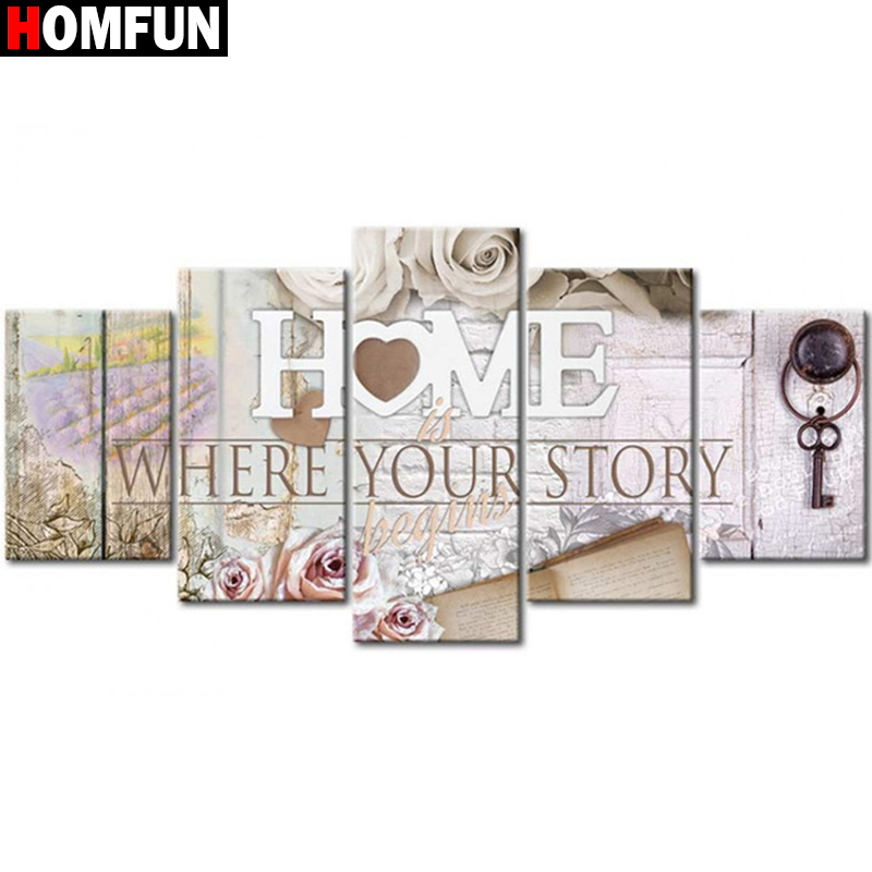HOMFUN 5pcs Full Square/Round Drill 5D DIY Diamond Painting Home sweet home Multi-picture Combination Embroidery 5D GiftHOMFUN 5pcs Full Square/Round Drill 5D DIY Diamond Painting Home sweet home Multi-picture Combination Embroidery 5D Gift