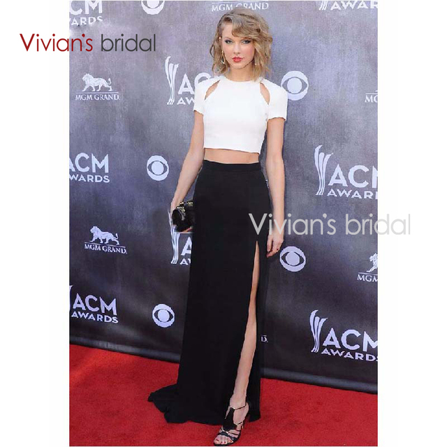 242635b73356 Taylor Swift Black and White Two-piece Red Carpet Dress Celebrity Evening  Dresses