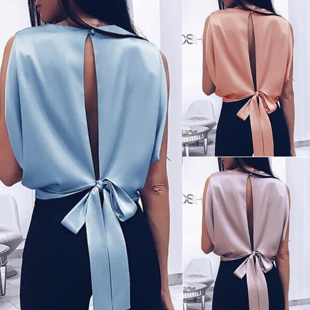 Women Blouse 2019 Spring Summer Sexy Tops Bowknot Shirts Casual Loose Plus Size Blusas